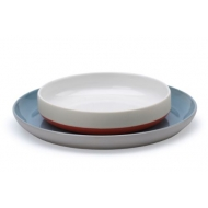 Bat Tr Bowl L w/plate Red